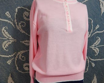 Darling Vintage Bubblegum Pink Sweater |  Pin Up | 1960s | Pullover | Jumper