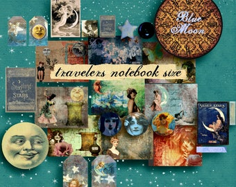 "Travelers Notebook  Printable Journal Pages  Vintage Journal  Ephemera Pack - ""BLUE MOON""  Traveler Notebook Insert  Kit  Digital Art"