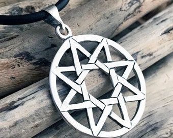 Sterling Silver Sun Star Pentagram Pendant Necklace SKY026