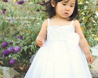 17 Baby Summer Tulle Dress 'Dalia', Silver Sequins, Lace, white Tulle Dress, 6m, 12m, 18m, 24m, 2yrs, 4yrs
