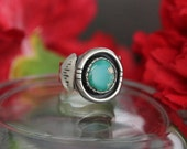 Turquoise Ring, Sterling Silver turquoise Ring, Mexican Turquoise, navajo inspired, natural blue turquoise, pyrite turquoise, gift for her