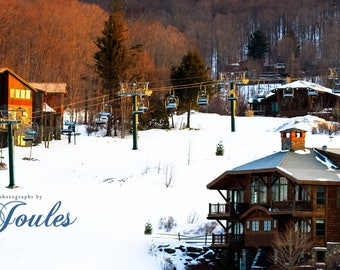 Stowe Morning Light Panoramic ~ Stowe, Vermont, Skiing, Mountain, Snowboarding, Art, Artwork, Photograph, Joules, New England, Snow, Winter