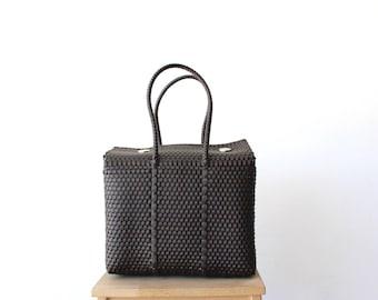 Dark Brown Mexico Bag, Handwoven Mexican Tote, Oaxaca Tote, Mexican Plastic Bag, Mexican Basket, Mexican Art, MexiMexi, Picnic Basket