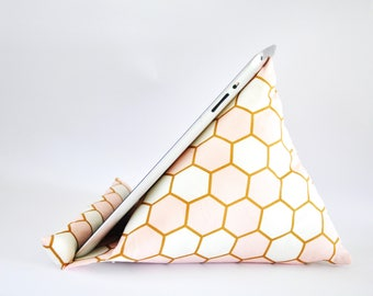 iPad Stand, iPad Holder, iPad Pillow, iPad Cushion, Tablet Stand, Tablet Holder, Tablet Pillow, Tablet Cushion - Pink & White Hexagons