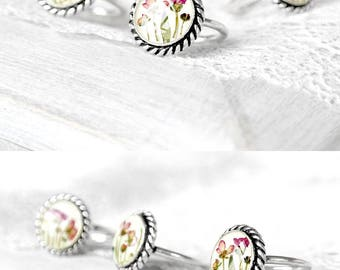 Delicate ring Flowers engagement ring for women Love gift|for|her Natural ring for girl Bohemian ring eco gift Chic ring for girlfriend gift