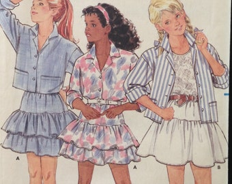 Butterick 6264 - 1980s Girls Buton Front Shirt with Notched Collar and Ruffled Skirt - Size 12 14