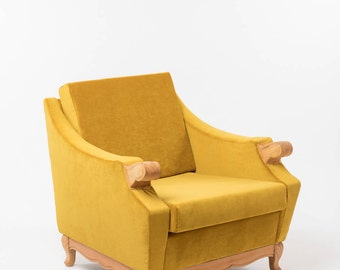 Reloved Armchair . Royal Yellow  | Upholstered Chair | Vintage Chair | Lounge Chair | Retro Armchair | Restored | Modern Vintage