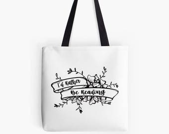 I'd Rather be Reading Tote Bag, books tote bag, eco friendly tote, reading gift, reading tote, bookish gifts, gift for book lovers,
