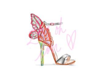 Fashion Illustration Print- Butterfly Heel - Sophia Webster