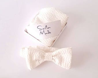 White Bowtie and Pocket Square Set for Groomsmen - Will you Be My Groomsmen  - White Pocket Square - Made to Order Wedding Set