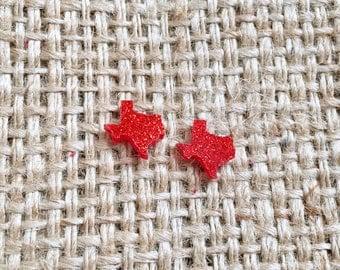 Texas Earrings, Texas Stud Earrings, Texas Glitter Studs, Red Texas Studs, Texas Glitter Studs, Texas Studs, Acrylic Texas Studs, Texas Girl