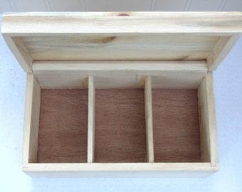 Tea Box Wood, Unfinished Wood Tea Box, Craft Supplies, Tea Box Wooden, Tea Caddy, Tea Storage,Tea Bag, Craft Supply, Made in USA