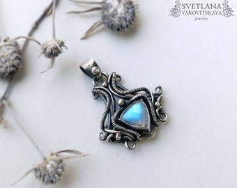 Moonstone pendant, Moonstone necklace,Wirewrap pendant, Silver Pendant, Moonstone, Silver Jewelry, Wire jewelry, St Valentine gift, Wirewrap