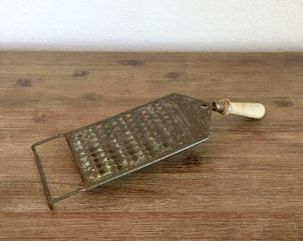 Vintage 3 in 1 Lightning Shredder; Rustic Kitchen Utensil; Antique Grater; Wood Handle Shredder; Primitive Kitchen Decor