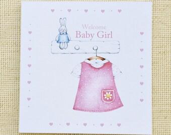 Welcome Baby Girl Card, Cute Baby Card, Customized Baby Card, New Baby Girl Card, Baby Girl Congratulations Card, Baby Congratulations Card