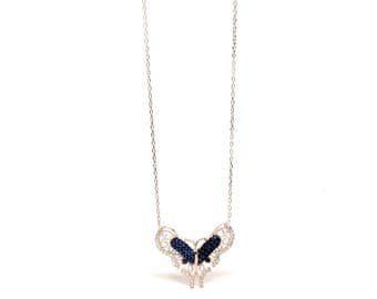 Women's jewellery Dark Blue Butterfly Pendant with Cubic Zirconia Sterling Silver Rose Gold Necklace - A Symbol of change. Gift Box Included