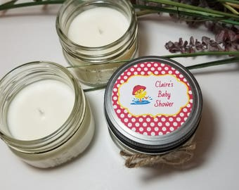 12 - 4 oz Baby Girl Shower Favors - Personalized Baby Shower Candles - Gift for Guests - Baby Shower Prizes - Duck Theme Shower - Soy Favors
