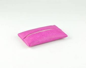 Pocket Tissue Holder for Purse, PU Leather Travel Tissue Cover, Portable Tissue Case, Tissue Pouch, Magenta
