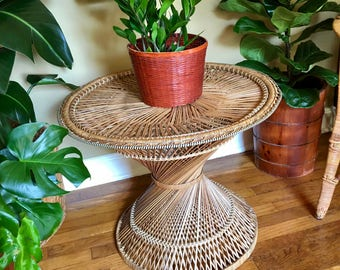 Vintage Bohemian 1960's Large Woven Rattan Hourglass Table / Side Table / End Table - In Excellent Condition! - Vintage Bohemian Furniture