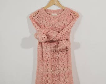 Pink Alpaca Knit Sweater, Cable Chunky Knit Alpaca Sweater, Alpaca Wool Kint Sweaters, Handknitted Sweaters, Pink Cable Knit Low Sweaters