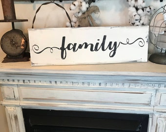 Family sign / hand painted wood sign / farmhouse home sign