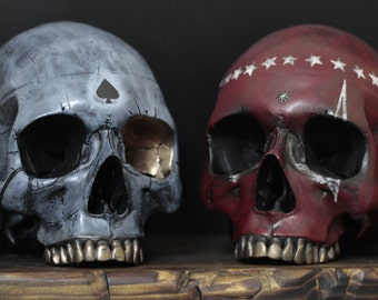 The Brotherhood - Pair of Hand Painted & Distressed Full Scale Life Size Realistic Faux Human Display Skulls (Skull Art)