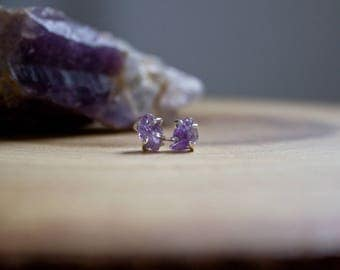 Raw Mineral Studs (POLISHED SILVER) - Amethyst - Blue Apatite - Peridot - Labradorite - sterling silver - handmade - one of a kind