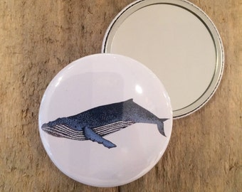 Humpback Whale mirror, pocket mirror, handbag mirror, compact mirror, nautical gift, wedding favour, bridesmaid gift, stocking filler, whale