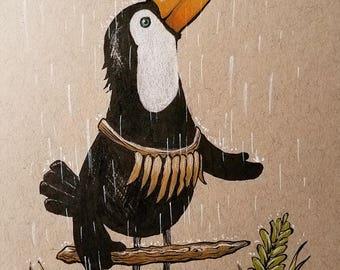 Toucan In The Rain Original Art