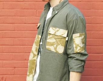 Men's casual khaki shirt with desert camouflage panels. Size L