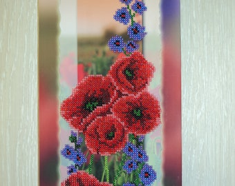 Beaded painting Embroidered beads picture Beadwork picture Embroidery poppies Handmade wall decor Gift for coupleGift for womanGift birthday