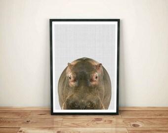 Hippopotamus Wall Print, Hippopotamus Decor, Hippopotamus Large Poster, Nursery Wall Print, African Animal Print, Hippo Print,Hippo Wall Art