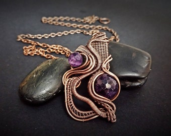 Amethyst Wire Wrapped  Copper Pendant