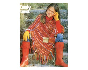 Kids Poncho Crochet Pattern with woven-striped design
