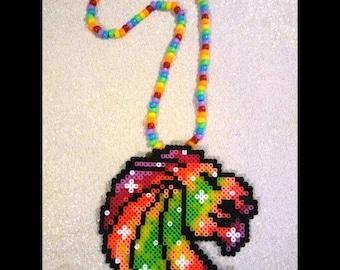 Seven Lions Perler Kandi Necklace - Green Orange Red Galaxy