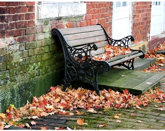 Fallen Autumn Leaves Photograph - Old Wooden Bench Covered in Orange & Red Maple Leaves Wall Art Photo - Midwestern Photography - Small Town