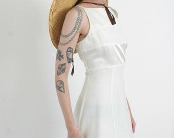 1990s White Apron Mini Dress | Vintage 90s Satin Party Dress | Medium M