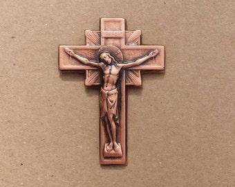 Metal Copper Crucifix Cross Wall Décor, Religious Décor, Spiritual Symbols