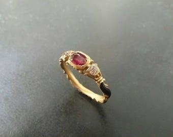 Stunningly Beautiful Georgian style 14k gold Ruby and Diamond Enamel ring