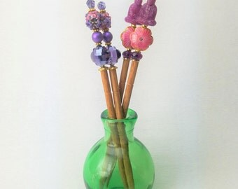 Pair of Hairsticks with Flowers - Choice of Orchid Pink with Buddha or Purple with Crystal