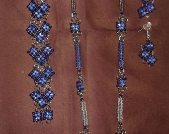 Blue Cats Eye Heart Shaped Necklace Set