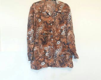 Animal and Floral Print Blouse Vintage Leopard Print Blouse Flower Pattern Button Up Shirt Women's Large Oversize Vintage Blouse Leopard