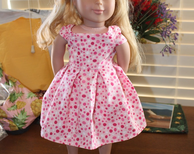 Ready for a Party, Pink and White Polka Dots Print ,Dress , Matching Shoes made for the AG and other 18 inch dolls FREE SHIPPING