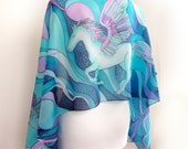 Handpainted pegasus scarf - silk scarf with winged horse scarves - turquoise purple fantasy art designer - magical creature - gift for poet