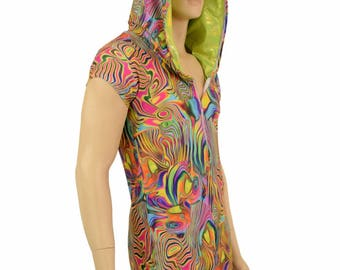 Mens Zipper Front Tropical Swirl Cap Sleeve Hoodie Dragon Romper with Lime Holographic Hood Lining and Spikes - 154873