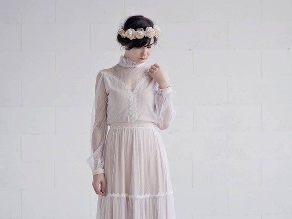 Rue - retro bridal top with poet sleeves