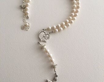 White Rosary Necklace