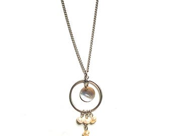 Abalone and pearl Silver hoop necklace