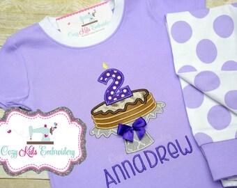 Pancake pajamas, girl pancake pajamas, birthday pancake pajamas, pancake pj, birthday pajamas, birthday pj, pancake applique embroidery