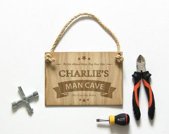 Personalised Man Cave Sign, Shed Sign, Dad's Shed, Dad's Man Cave, Birthday Gift for Dad, Birthday Gift for Husband